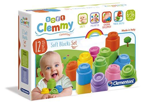 Clementoni 14706 Clemmy Bausteine, buntes Soft-Block Set, weiches Motorikspielzeug, Babyspielzeug zum Greifen & Beißen, 12 Blöcke für Kleinkinder ab 6 Monaten